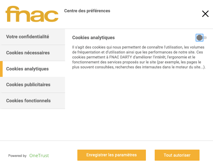 Fnac cookies analytics